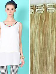 cheap -Clip In Human Hair Extensions Straight Human Hair Medium Brown / Bleach Blonde