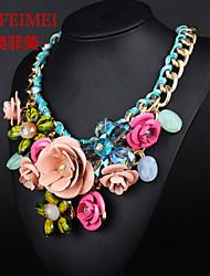 Недорогие -цветные драгоценными камнями цветы тканые хлопка ожерелье веревочки короткие ключицы преувеличены женщина с ювелирными изделиями