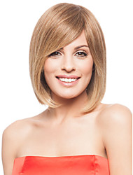 cheap -Human Hair Wig Wavy Short Hairstyles 2019 Wavy Capless Strawberry Blonde / Bleach Blonde Brown With Blonde Dark Brown 14 inch