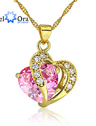 cheap -Pink Cubic Zirconia Heart Gold Pink Necklace Jewelry For Wedding Party Special Occasion Gift Causal Daily
