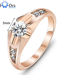 cheap -Couple's Statement Ring Cubic Zirconia Moissanite Gold Cubic Zirconia 18K Gold Fashion Party Jewelry
