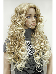 cheap -Synthetic Wig Curly Curly Wig Blonde Long Synthetic Hair 26 inch Women's Ombre Hair Side Part Blonde