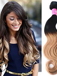 cheap -3 Bundles Indian Hair Body Wave Human Hair Ombre Hair Weaves / Hair Bulk 18-22 inch Ombre Human Hair Weaves Human Hair Extensions / 8A