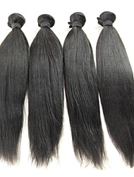 cheap -Brazilian Hair Straight Classic Virgin Human Hair Natural Color Hair Weaves / Hair Bulk 18-20 inch Black Human Hair Weaves Human Hair Extensions / 10A