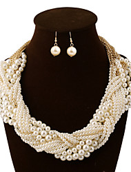 cheap -Women's Jewelry Set Statement Necklace Layered Seed Pearls Chinese Knot Statement Ladies Vintage Party Work Casual Pearl Earrings Jewelry Pearl White For Wedding Party Special Occasion