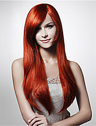 cheap -Synthetic Wig Straight Water Wave Water Wave Asymmetrical Wig Long Red Synthetic Hair Women's Natural Hairline Red