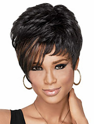 cheap -Synthetic Wig Straight Style Pixie Cut Wig Black Synthetic Hair Women's Highlighted / Balayage Hair Side Part Black Wig Short
