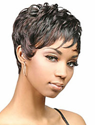 cheap -Synthetic Wig Straight Curly Kardashian Style Layered Haircut Wig Black Synthetic Hair 2 inch Women's Natural Hairline Black Wig Short