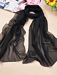 cheap -Women's Basic Polyester / Chiffon Rectangle Scarf - Solid Colored / Black / White / Yellow / Red / Blue