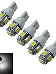 cheap -5pcs 1 W Decoration Light 70-90 lm T10 5 LED Beads SMD 5050 Cold White 12 V / 5 pcs