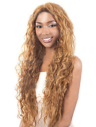 cheap -Synthetic Wig Curly Kinky Curly Loose Wave Kinky Curly Curly Asymmetrical Wig Blonde Long Golden Brown With Blonde Synthetic Hair 20 inch Women's Natural Hairline Blonde