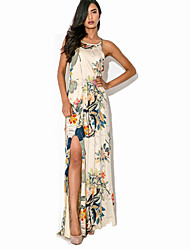 cheap -Women's Holiday Beach Boho Maxi Swing Dress - Floral Print Strap Summer White L XL XXL