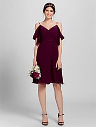 cheap -A-Line Spaghetti Strap Knee Length Chiffon Bridesmaid Dress with Criss Cross / Open Back
