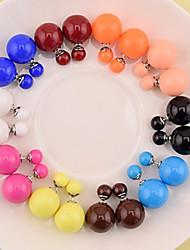 cheap -Women's Coffee Black Blue Earrings Ladies Fashion Pearl Earrings Jewelry Brown / Blue / Pink For Daily