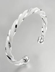 Недорогие -Браслет разомкнутое кольцо Для вечеринки Для офиса На каждый день Серебрянное покрытие Браслет Ювелирные изделия Серебряный Назначение Для вечеринок