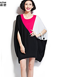cheap -Women's Daily Classic & Timeless Loose Dress - Color Block Modern Style Summer Cotton Gray Blue Dark Pink