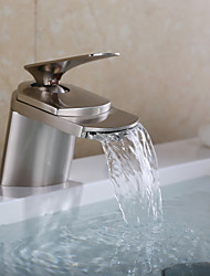 cheap -Bathroom Sink Faucet - Waterfall Nickel Brushed Centerset One Hole / Single Handle One HoleBath Taps