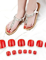 cheap -70pcs bright red toe false acrylic nail art tips