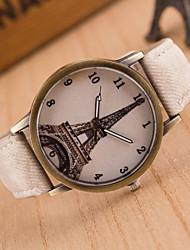 cheap -Women's Ladies Wrist Watch Quartz Leather Black / White / Blue Hot Sale Analog Casual Eiffel Tower Fashion - Green Blue Pink One Year Battery Life / Tianqiu 377