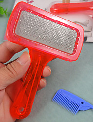 cheap -Grooming Shedding Tools Plastic Comb Pet Grooming Supplies Red Blue