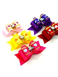 cheap -Cool Ribbon Style Heart Rhinestone Decorated Rubber Band Hair Bow for Pet Dogs  (Random Color)