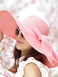 cheap -Women's Sun Hat Straw Vintage - Solid Colored Bow Summer White Navy Blue Pink / Hat & Cap