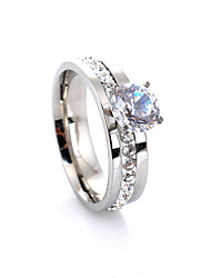 cheap -Women's Band Ring Engagement Ring Belle Ring Diamond Cubic Zirconia Silver Alloy Four Prongs Ladies Luxury European Wedding Party Jewelry Solitaire Halo Love