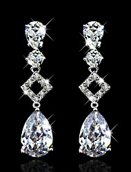 cheap -Cubic Zirconia High End Crystal Dangling Dangle Party Work Elegant Zircon Cubic Zirconia Earrings Jewelry White For