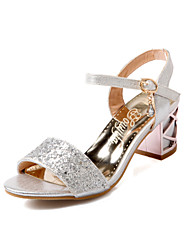 cheap -Women's Glitter Crystal Sequined Jeweled Stiletto Heel Sequin Leatherette Gladiator Summer Golden / Blue / Silver / Wedding