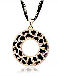 cheap -Women's Pendant Necklace Circle Ladies Cute Rhinestone Alloy Black Necklace Jewelry For