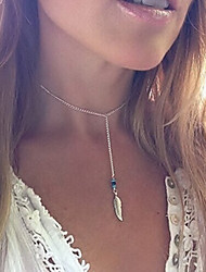 cheap -Women's Crystal Pendant Necklace Necklace Beaded Tassel faceter Feather Ladies Tassel Vintage Party Resin Turquoise Alloy Silver Necklace Jewelry For