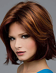 cheap -Synthetic Wig Straight Natural Wave Natural Wave Asymmetrical Wig Medium Length Brown Synthetic Hair Women's Natural Hairline Brown