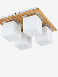 cheap -4-Light 40CM(15.74INCH) Mini Style Flush Mount Lights Wood / Bamboo Acrylic Painted Finishes Modern Contemporary 110-120V / 220-240V / E26 / E27