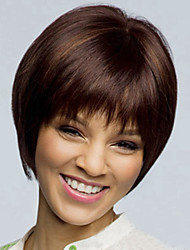 cheap -Synthetic Wig Straight Straight Asymmetrical Wig Short Brown Synthetic Hair Women's Natural Hairline Brown