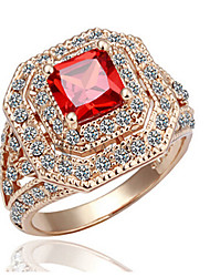 cheap -Statement Ring Ruby / AAA Cubic Zirconia / Synthetic Ruby Red / Rose Gold Synthetic Gemstones / Zircon / Cubic Zirconia Luxury / Vintage / Party Costume Jewelry / Gold Plated / 18K Gold
