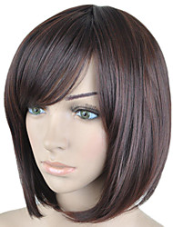 cheap -Synthetic Wig Straight Straight Bob With Bangs Wig Short Brown Synthetic Hair Women's Side Part Brown hairjoy