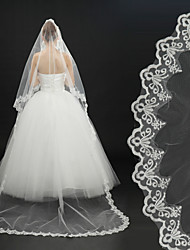 cheap -One-tier Lace Applique Edge Wedding Veil Cathedral Veils with Appliques / Embroidery 118.11 in (300cm) Lace / Tulle / Classic