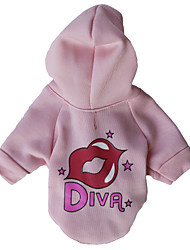 cheap -Cat Dog Hoodie Fleece Hoodie Lips Fashion Winter Dog Clothes Dark Red Pink Green Costume Cotton XS S M L