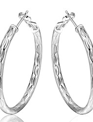 cheap -Women's Hoop Earrings Machete Ladies Luxury Silver Plated Earrings Jewelry Silver For Wedding Party Daily Casual