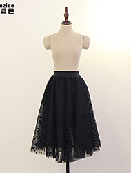 cheap -Women's Daily A Line Skirts - Solid Colored Tulle Black