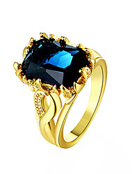 cheap -Ring Synthetic Sapphire Emerald Cut Blue Gold Royal Blue 18K Gold Plated Synthetic Gemstones Cocktail Ring Ladies Fashion / Women's