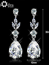 cheap -Women's Diamond Cubic Zirconia tiny diamond Drop Earrings Pear Cut Solitaire Dangling Dangle Ladies Elegant Zircon Cubic Zirconia Earrings Jewelry White For Wedding Masquerade Engagement Party Prom