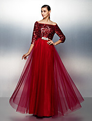 cheap -A-Line Boat Neck / Bateau Neck Floor Length Tulle / Sequined Sparkle & Shine / Beaded & Sequin Prom / Formal Evening Dress with Sequin / Sash / Ribbon 2020