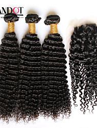 cheap -Mongolian Hair Curly Body Wave Classic Virgin Human Hair Hair Weft with Closure Human Hair Weaves Human Hair Extensions