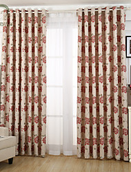 cheap -One Panel Red Flower Jacquard Curtain