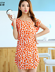 cheap -Women's Beach Batwing Sleeve Shift Dress Print Summer Orange One-Size