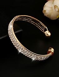 cheap -Women's Crystal Cuff Bracelet Tennis Bracelet Ladies Vintage Party Work Casual Rhinestone Bracelet Jewelry Gold / Silver For / Imitation Diamond / 18K Gold / Austria Crystal