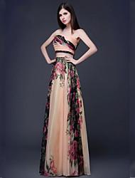 cheap -Formal Evening Dress - Print Plus Sizes / Petite A-line Strapless Floor-length Chiffon