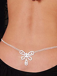 cheap -Belly Body Chain Body Chain Ladies Unique Design Fashion Women's Body Jewelry For Christmas Gifts Daily Rhinestone Imitation Diamond Heart Bowknot White / Waist Chain