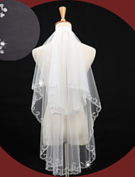 cheap -One-tier Beaded Edge Wedding Veil Fingertip Veils with Beading / Sequin Tulle / Classic